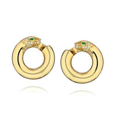 Cartier CARTIER PANTHERE 18K YELLOW GOLD DIAMOND HOOP EARRINGS