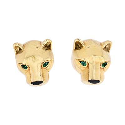 Cartier CARTIER PANTHERE 18K YELLOW GOLD HEAD STUD EARRINGS