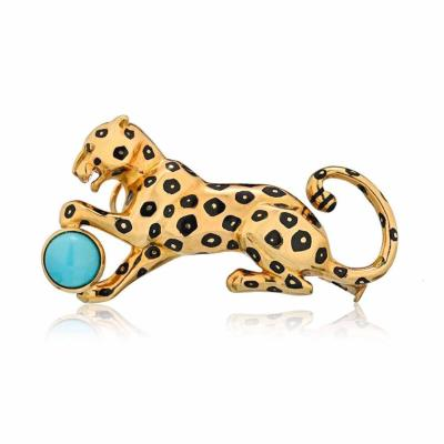 Cartier CARTIER PANTHERE 18K YELLOW GOLD PANTHER WITH TURQUOISE BALL BROOCH