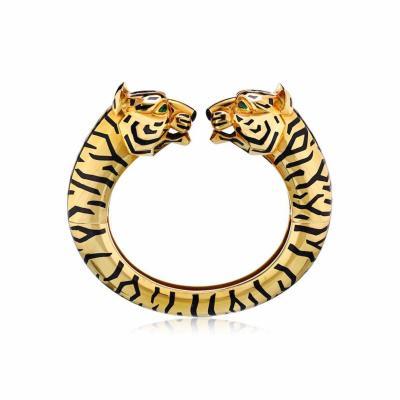 Cartier CARTIER PANTHERE 18K YELLOW GOLD VINTAGE DOUBLE HEAD BANGLE BRACELET