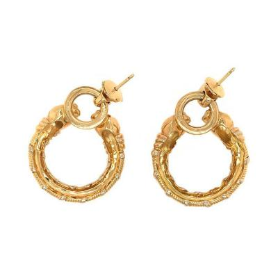 Cartier CARTIER PANTHERE 18K YELLOW GOLD VINTAGE HOOP EARRINGS