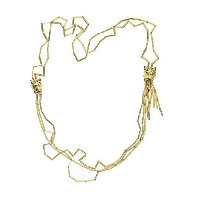 Cartier CARTIER PANTHERE 18K YELLOW GOLD VINTAGE STRAND WITH DOUBLE HEAD NECKLACE