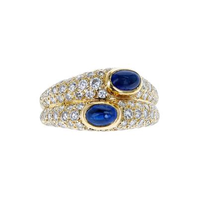 Cartier CARTIER PARIS DOUBLE SAPPHIRE CABOCHON AND DIAMOND RING 18K YELLOW GOLD