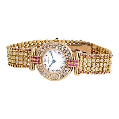 Cartier CARTIER RIVOLI 18K YELLOW GOLD 1292 LADIES DIAMONDS AND RUBY WATCH