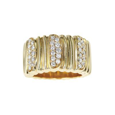 Cartier CARTIER TEXTURED 18 KARAT YELLOW GOLD AND DIAMOND BAND RING