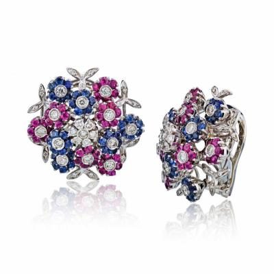 Cartier CARTIER TREMBLANT 18K WHITE GOLD DIAMOND SAPPHIRE AND RUBY CLIP ON EARRINGS