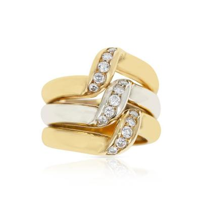 Cartier CARTIER TRI COLOR ELEVATED RING WITH DIAMONDS 18K ROSE WHITE YELLOW GOLD