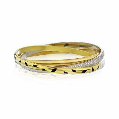 Cartier CARTIER TRINITY 18K YELLOW GOLD DIAMOND SPOTTED LACQUER SLIP ON BRACELET