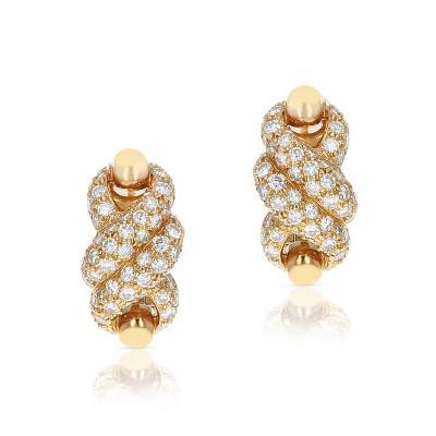 Cartier CARTIER TWISTED ROPE DIAMOND SWIRL EARRINGS 18 KARAT YELLOW GOLD