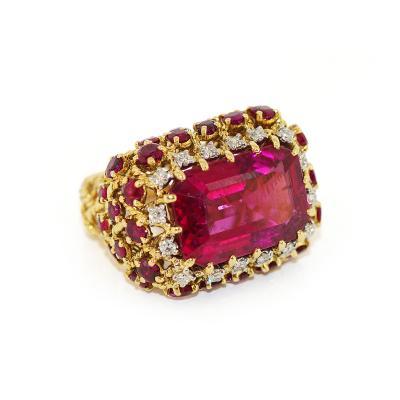 Cartier Cartier 18kt Rubellite Diamond Burmese Ruby Cocktail Ring
