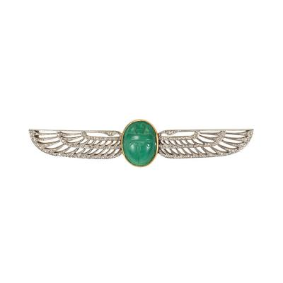 Cartier Cartier 1920s Egyptian Revival Brooch with Scarab Motif and Diamonds