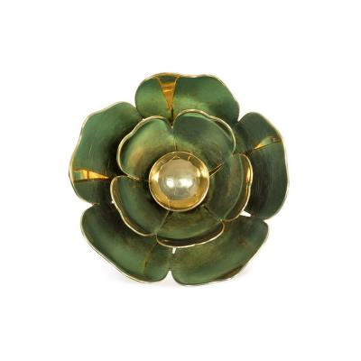 Cartier Cartier 1940s Gold and Blue Enamel Reflective Flower Brooch