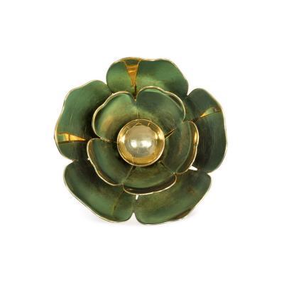 Cartier Cartier 1940s Gold and Blue Enamel Reflective Flower Brooch