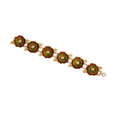 Cartier Cartier 1940s Gold and Enamel Flower Link Bracelet