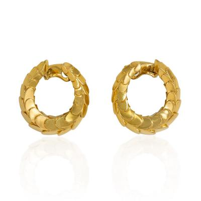 Cartier Cartier 1960s Gold Scaled Hoop Earrings