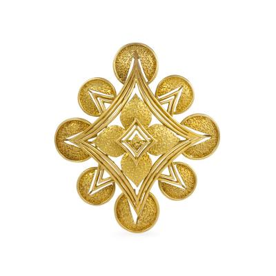 Cartier Cartier 1970s Gold Brooch Pendant of Abstract Starburst Design