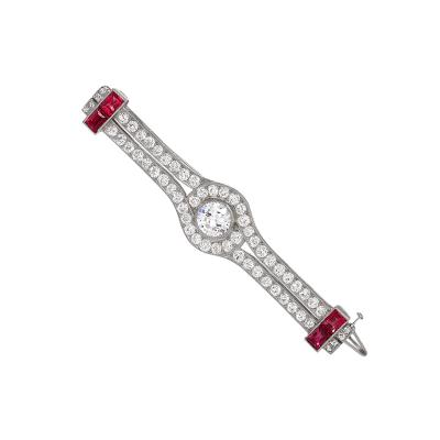 Cartier Cartier Art Deco Diamond and Ruby Brooch