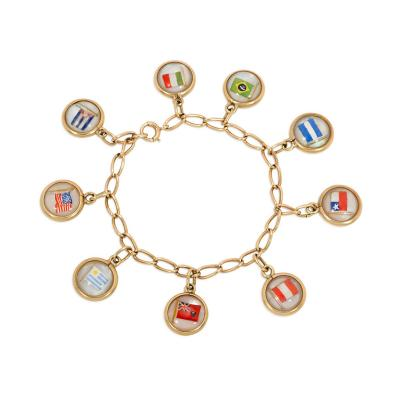 Cartier Cartier Art Deco Gold and Reverse Painted Crystal Flag Charm Bracelet