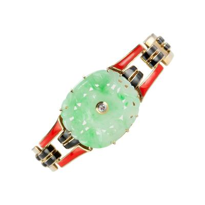 Cartier Cartier Art Deco Jade and Enamel Gold Bracelet