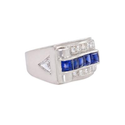Cartier Cartier Art Deco Platinum Buff Top Sapphire and Diamond Ring