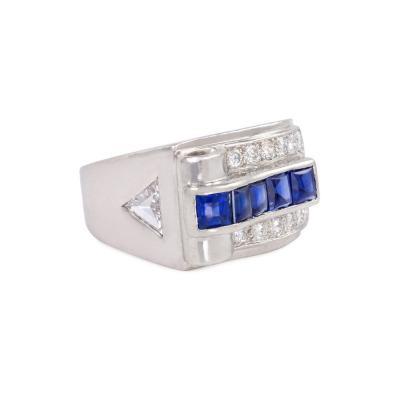Cartier Cartier Art Deco Platinum Buff Top Sapphire and Diamond Ring