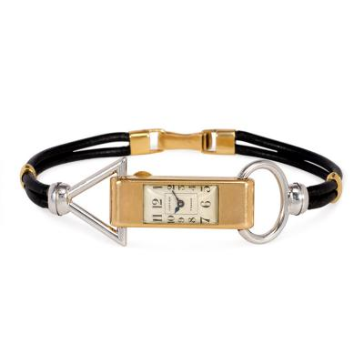Cartier Cartier Art Deco Two Color Gold Wrist Watch of Geometric Motifs Leather Band