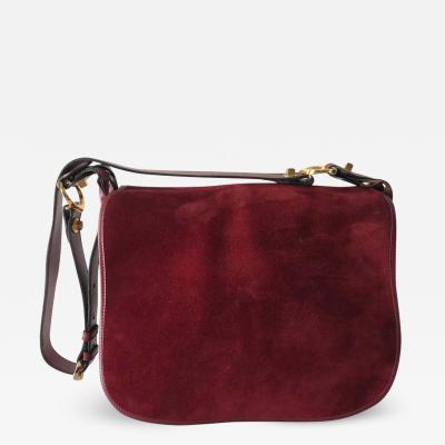 Cartier Cartier Bordeaux Shoulder Strap Suede Leather Pocketbook Purse