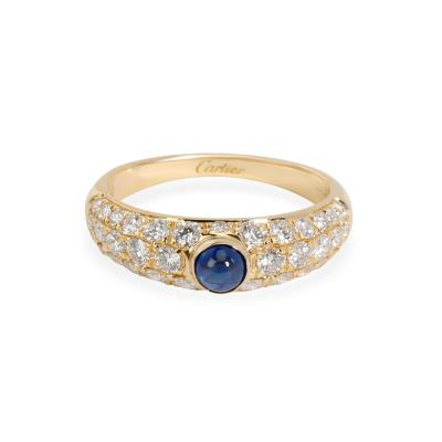 Cartier Cartier Cabochon Sapphire Pave Diamond Ring in 18K Yellow Gold 1 22 ctw