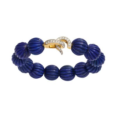 Cartier Cartier Carved Lapis Bracelet with Diamond Clasp