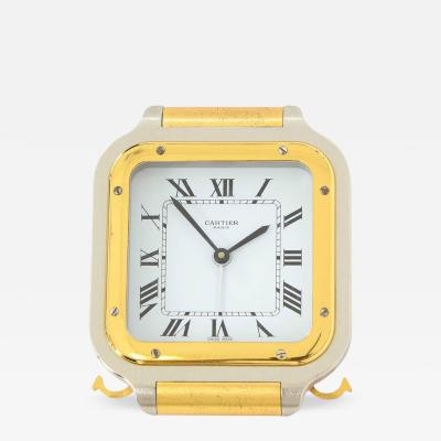 Cartier Cartier Clock Quartz Santos Gold Plated Brushed Steel Signed France 1980s