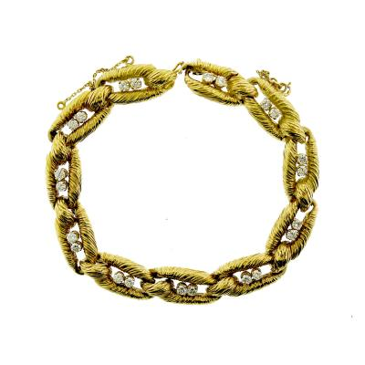 Cartier Cartier Co Signed 18k Gold and Diamond Link Bracelet c 1970