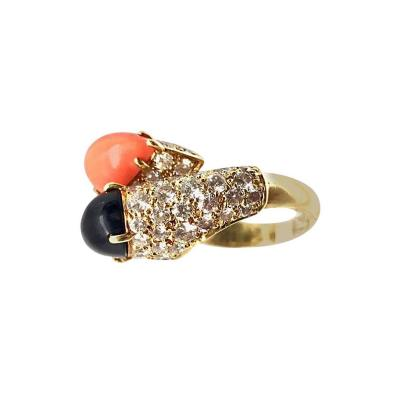 Cartier Cartier Diamond Coral and Onyx Gold Crossover Ring