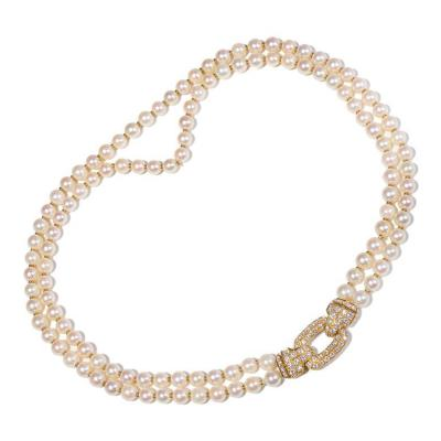 Cartier Cartier Diamond Double Strand Pearl Gold Necklace