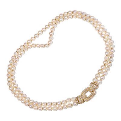 Cartier Cartier Diamond Double Strand Pearl Gold Necklace