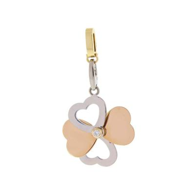 Cartier Cartier Diamond Gold Heart Clover Charm