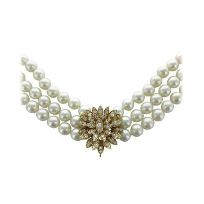 Cartier Cartier Diamond Pearl Gold Necklace