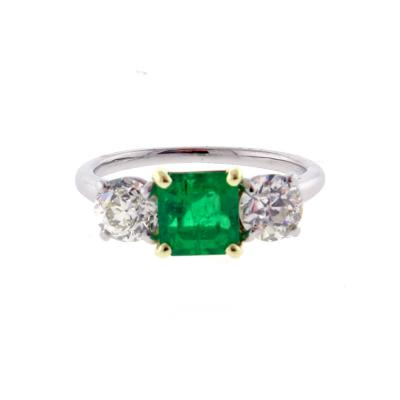 Cartier Cartier Emerald and Diamond Three Stone Ring