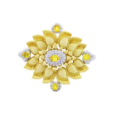 Cartier Cartier Enamel Diamond and Yellow Garnet Brooch