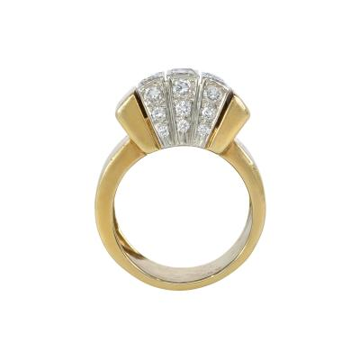 Cartier Cartier Estate Gold and Diamond Modernist Ring with Domed Top