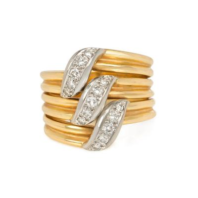 Cartier Cartier Estate Gold and Diamond Three Row Band Ring