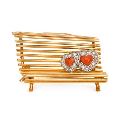Cartier Cartier France 1940s Gold Coral and Diamond Lovers on a Bench Brooch