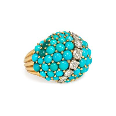 Cartier Cartier France 1950s Gold Turquoise and Diamond Bomb Ring