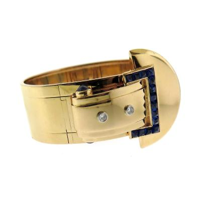 Cartier Cartier Gold Diamond Sapphire Buckle Bangle