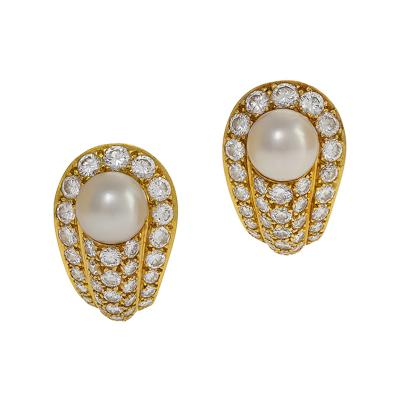 Cartier Cartier Gold Pearls and Diamond Earrings