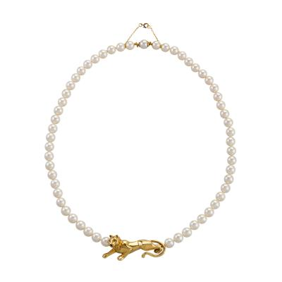 Cartier Cartier Gold and Pearl Panther Necklace