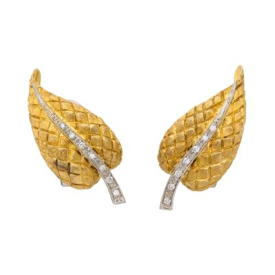 Cartier Cartier Leaf Form Clip Earrings with Diamond Stem