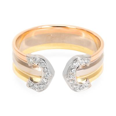 Cartier Cartier Logo Diamond Ring in 18K 3 Tone Gold 0 1 CTW