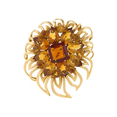 Cartier Cartier London Mid 20th Century Citrine and Gold Flower Brooch