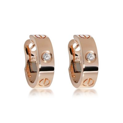 Cartier Cartier Love Diamond Hoop Earring in 18K Rose Gold 0 14 CTW