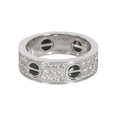 Cartier Cartier Love Diamond Ring in 18K White Gold Black Ceramic 0 74 CTW